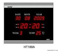 led digital wall clock - Large LED digital wall clock EU plug power crystal electronic calendar digital alarm clock desktop clock despertador digital