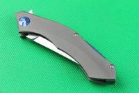 Trefilado de acero Baratos-High End D2 steel Cuchilla de hoja plegable Flipper 59-60HRC SatinWire hoja de acabado de dibujo mango de titanio IKBS sistema de bloqueo de marco