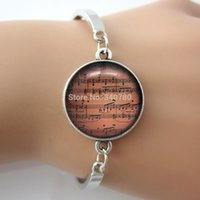 best sheet music - Vintage Bracelet Sheet Music Bangle Glass Dome Silver Metal Cuff Wrap Bangle Gift For Best Friends GL004