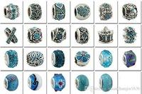 Wholesale Fashion Jewelry Sterling Silver European Beads Fits Charm pandora Bracelets necklaces pendants Batch Sale six colors for Women