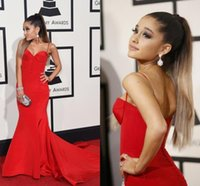 ariana grande dress - 2016 Grammy Awards Celebrity Dresses Ariana Grande In Spaghetti Straps Evening Wears Red Carpet Mermaid Long Prom Gowns
