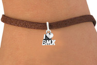 animal bmx - 30pcs Fashion Antique Silver Plated I Love BMX Bracelets Leather Rope Woven Elastic Bangles DIY Jewelry Belt Charm