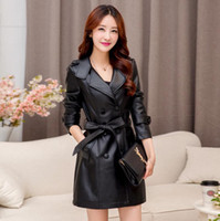 Wholesale L XL Plus Size Women s Tops Clothing Autumn Winter Fashion Elegant Leather Jackets Suede Coats Ladies Belted Outerwear