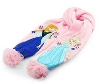 Wholesale Girls christmas gifts Pink frozen scarf hat set frozen scarves cap Anna Elsa Children knit Accessories kids girl hats scarves sets free DHL