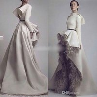 apple font - Krikor Jabotian Long Sleeves Evening Dresses Short Font Long Back Grey Feather Satin Open Back Formal Dresses Prom Gowns