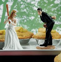 baseball figurine - Interesting Baseball Wedding Bride and Groom toppers Couple Figurine wedding cake topper for wedding cake decoration supplies