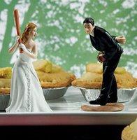 baseball cake decorations - Interesting Baseball Wedding Bride and Groom toppers Couple Figurine wedding cake topper for wedding cake decoration supplies