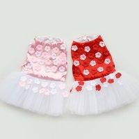 Wholesale Hot Red Pink Petal Printed Tutu Dress Lace Flower Pets Skirt Cute Dog Clothes Chihuahua Vestido Cachorro Pet