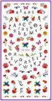 alphabet decals - 1X Water Transfers Stickers Nail Decals Nail Art Beauty FULL COVER FLOWER BIRD DAISY ALPHABET KISS TONGUE DIAMOND YE073