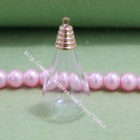 Wholesale 18 mm Flat Water Drop shape Glass globe bubble Gold plated top cap