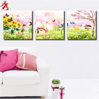 beautiful birds pictures - Fairy tale landscape Photo Home kids room sofa wall decor unframed beautiful dream scenery canvas paintings flowers birds house windmill
