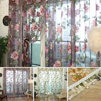 Revisiones Salas de medios-Patrón de la flor europea Cortina de sombreado medio para la decoración de la ventana de la ventana de la puerta Decoración de la ventana Pastoral Voile cortinas Decoración del dormitorio H16142
