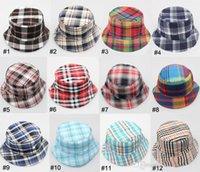 Cheap Child Bucket Hat Children Visor Hat Caps Baby Sunbonnet Kids Topee Classic Boys Girls Grid Cap Fashion Casual Canvas Hats