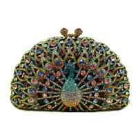 rhinestone purses - 10 colors Fashion Animal Peacock Valentine Wedding Party Crystal Evening Bags for Women Crossbody Luxury Rhinestone Ladies Ring Clutch Purse