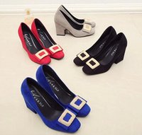 Wholesale American Size Euro Size Woman Dress Shoes Thick Heel Diamond Buckle fashion Shoes Soft Outsole Manufacturer