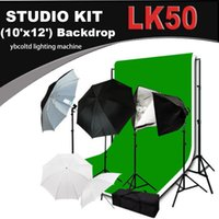 Wholesale Studio Photography Video Studio Triple Lighting Kit with X12ft Muslins Backdrops and Background Support System with Case LK50