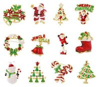 Wholesale 300PCS HHA286 Christmas Style brooch pin Santa Claus and boots brooches cane wreath snowman Christmas tree brooches jewelry gift