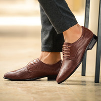 b grade shoes - High grade Genuine Leather Shoes Male Pointed Toe Business Leather Shoes Men Breather Hole Full Grain Leather Shoes Mens Retail H277
