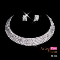 arrival diamond necklace - New Arrival Bling Earrings Necklace Sets Women Fashion Accessories Cheap Rhinestone Shining Hot Sale Discount