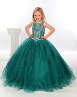 Wholesale Charming Dark green Arrival Little Girl s Pageant Dresses Jeweled Beaded Organza Ball Gown infant baby Flower Girl Dresses