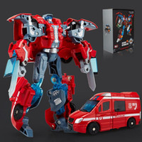 ambulance products - Deformation Movie Robots Action Figure Toys ABS Alloy Ambulance Crane Fire engine Excavator Motorcycle Model