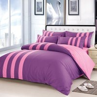 Wholesale 100 cotton Bedding Sets soft and comfortable Pillow Case Duvet Cover bed set pink and Purple Stripe Design Quilt cover