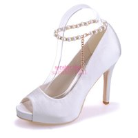 beautiful evening shoes - White Wedding Beautiful Bridal Bridesmaids Shoes For Brides Pearls Ankle Strap Peep Toe Cheap Party Ladies Evening Prom Pumps Sandals Shoes