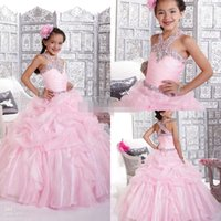 sequence - 2015 New shining sequence beaded halter pleated tiered ruched floor length prom gowns Little Girls Pageant Dress Flower Girls Dress