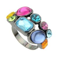 Wholesale Sopop Colorful Rhinestone Gunblack Color Alloy Rings For Women Fashion Jewelry
