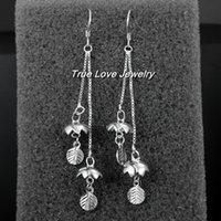 Wholesale Popular design real sterling silver Dangle Earrings Length7 cm fashion party jewelry beautiful Christmas gift