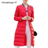 Wholesale 2016 New Arrival Warm Winter Jacket Women Full Sleeve Korean Style Long Style Coat Solid Color Slim Fashion Parka