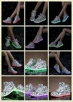 La conception des billets lumières colorées recharge USB LED lumineuses chaussures hommes / femmes de chaussures de sport haut aide chaussures de danse de rue de chaussures légères 35-44