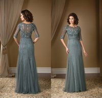 t-shirt dresses - 2015 Grey Mother Of the Bride Dresses Gorgeous Lace With Half Sleeves Evening Dresses Beaded Scoop Neck Tulle Mermaid Long Floor Length
