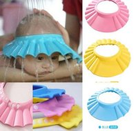 Wholesale 3 Colors Safe Shampoo Shower Bath Protection Soft Caps Baby Hats For Kids years old New Arrival