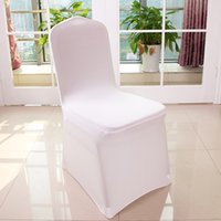 Wholesale Universal Polyester Spandex Wedding Chair Covers for Weddings Banquet Folding Hotel Decoration white HC01