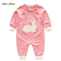 Wholesale Cute Fashion Newborn Autumn One Piece Clothing Cotton Long Sleeve Rabbit Jumpsuit Baby Onesies Knitting Romper