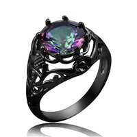 best gun accessories - Vintage Pattern Black Gun Plated Muticolor Crystal Rings Fashion Jewelry For Women Evening Party Accessories Best Christmas Gift