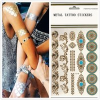Wholesale Design New Metallic Gold Body Art Temporary Tattoo Sexy Non Toxic Waterproof Flash Tattoos Sticker Bling Bling Flash Tats cm Free ship