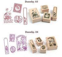 alice posts - Wooden fairy tale alice amp dorothy vintage Antique quartet Stamps seal diary carved gift craft toy PC SET CN post