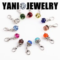 Cheap 60pcs lot Crystal Birthday Stones Charms Birthstone Floating Locket Charms with Lobster Clasp for Glass Memory Locket