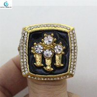 Wholesale 1996 Bulls basketball world championships Ring Black Enamel Crystal Gold Pleated Ring Men Jewelry