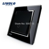 Wholesale Livolo New Doorbell Switch Black Crystal Glass Panel AC V Home Wall Doorbell Switch VL W2K1D