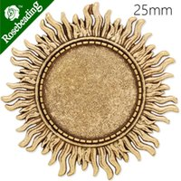 Wholesale 25mm anqitue gold plated brooch blank brooch bezel sunshine shape around zinc alloy lead and nickle free sold by C4074