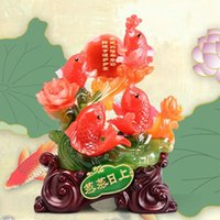 Wholesale Flourishing imitation jade resin craft ornaments carp rolling in wealth to a wedding gift