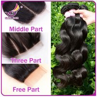 vendors - Best Vendor Peruvian body wave human hair extensions with lace top closure middle free way part soft wavy virgin hair wefts and closure