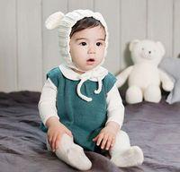 bear earmuffs - 2016 Baby Beanies Children Knitted Bear Cotton Animal Hats Boys Girls Autumn Winter Props Kids Earmuffs Headwear Crochet Warm Hats White