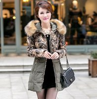 Cheap European Fashion Winter Women Long Sleeve Leopard Warm Outwear Ladies Thick Fur Coat Women Clothing Long Down Coats Khaki Black Green M2403