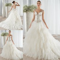 Cheap Tiered Skirt Ball Gown Wedding Dresses 2016 Latest Crystal Beading Demetrios Bridal Gowns Illusion Back Sweetheart Neck Court Train
