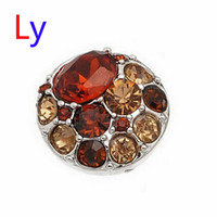 antique porcelain bead - Hot Sale Snap Buttons Jewelry mm Buttons Fashion DIY Charms Crystal Snaps Antique Metal Buttons orange and jacinth AC103
