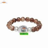 Wholesale Natural stone bracelet New Fashion Snap Button Stretch Bracelet DIY Glass Beads Dark Coffee bracelets for women